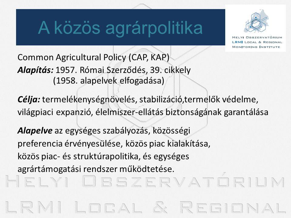 A közös agrárpolitika Common Agricultural Policy (CAP, KAP)