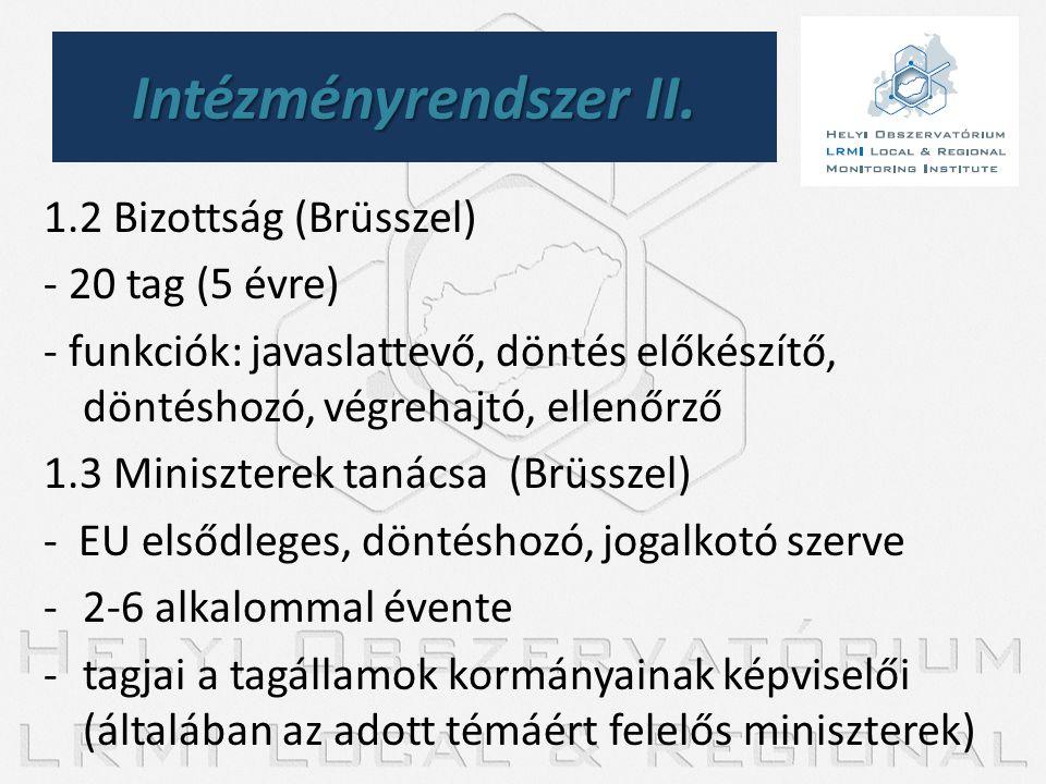 Intézményrendszer II. 1.2 Bizottság (Brüsszel) - 20 tag (5 évre)