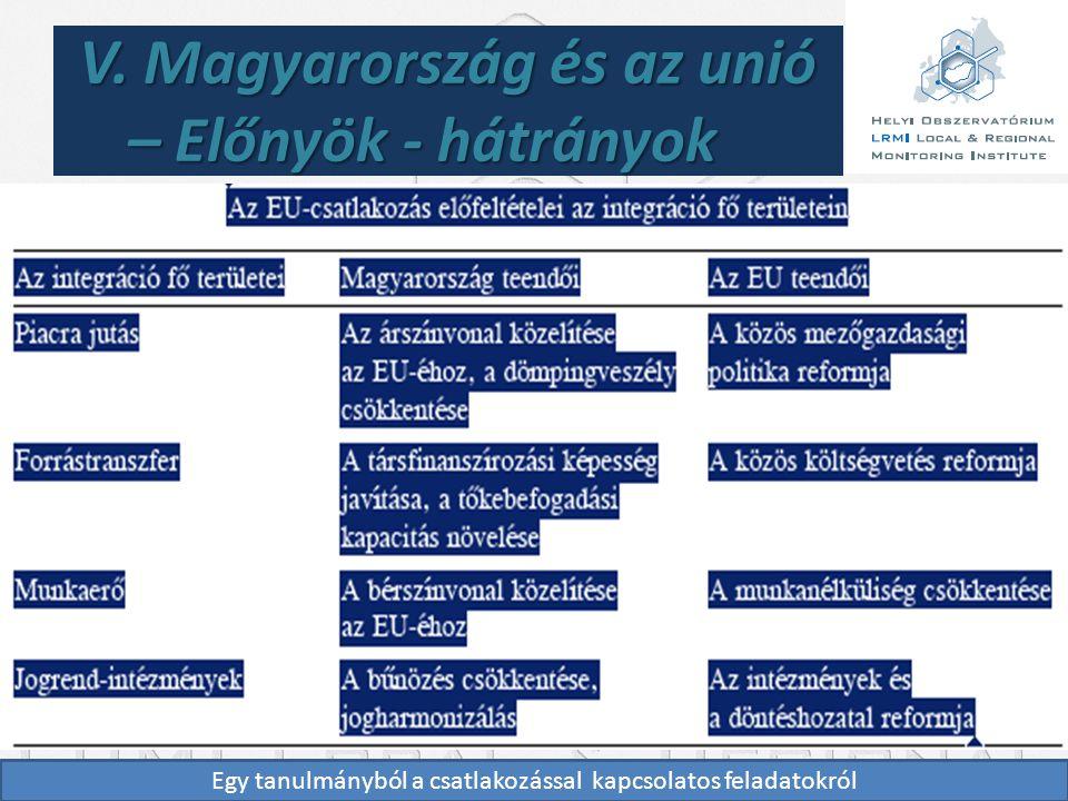 V. Magyarország és az unió – Előnyök - hátrányok