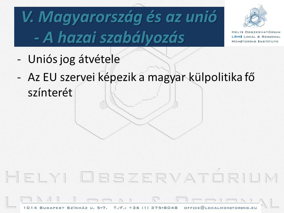 V. Magyarország és az unió - A hazai szabályozás