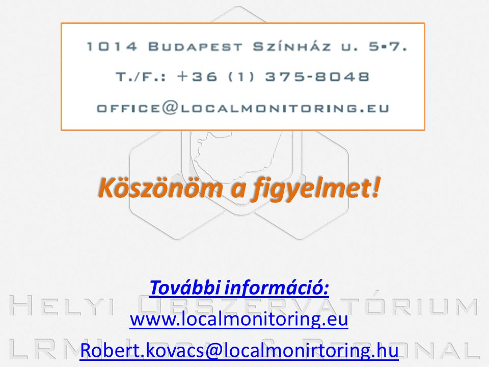 Köszönöm a figyelmet! További információ: www.localmonitoring.eu Robert.kovacs@localmonirtoring.hu