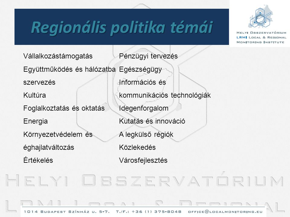Regionális politika témái