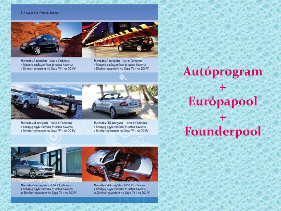 Autóprogram + Európapool + Founderpool