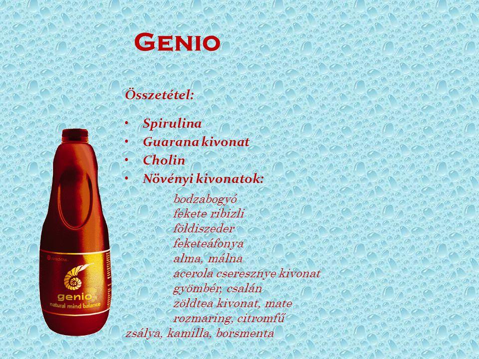 Genio Összetétel: Spirulina Guarana kivonat Cholin Növényi kivonatok: