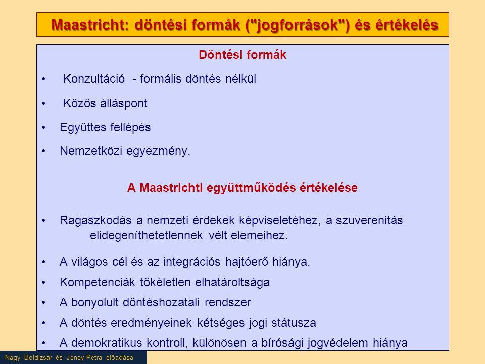 Maastricht: döntési formák ( jogforrások ) és értékelés