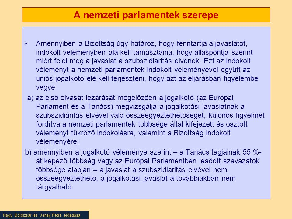 A nemzeti parlamentek szerepe