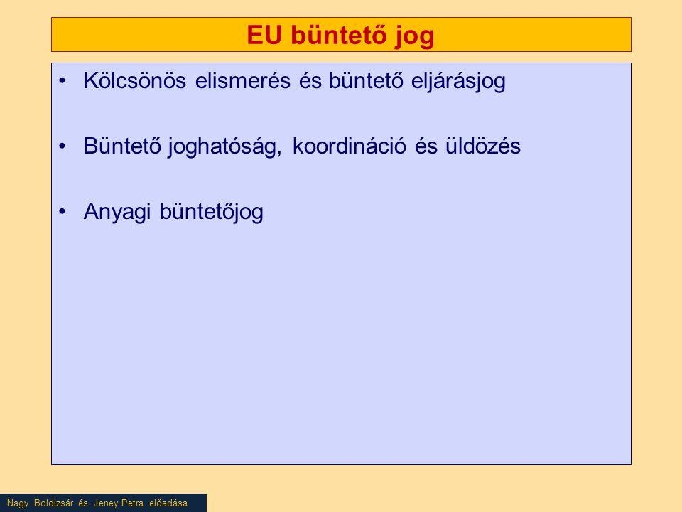 EU büntető jog Kölcsönös elismerés és büntető eljárásjog