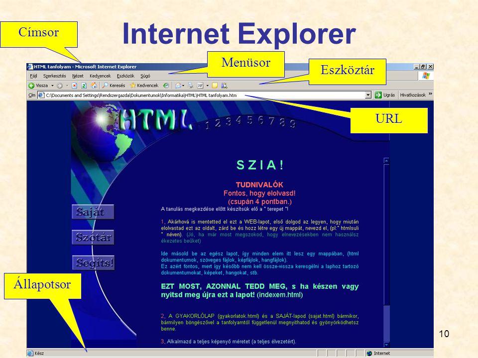 Internet Explorer Menüsor Eszköztár URL Címsor Állapotsor