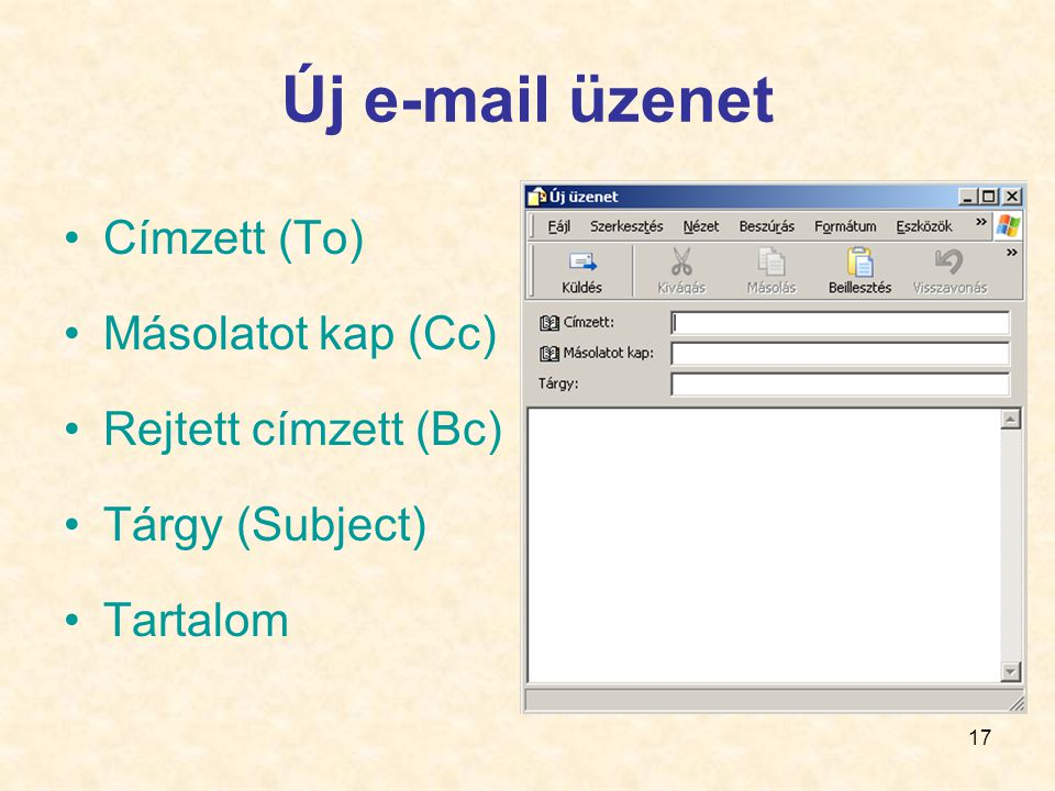 Új e-mail üzenet Címzett (To) Másolatot kap (Cc) Rejtett címzett (Bc)