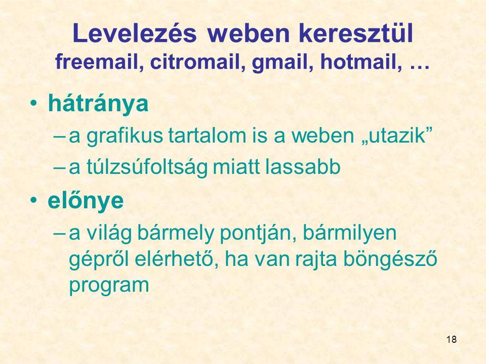 Levelezés weben keresztül freemail, citromail, gmail, hotmail, …