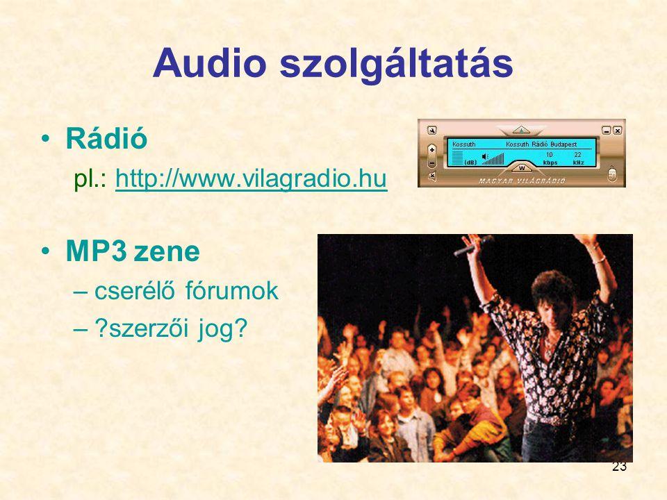 Audio szolgáltatás Rádió MP3 zene pl.: http://www.vilagradio.hu