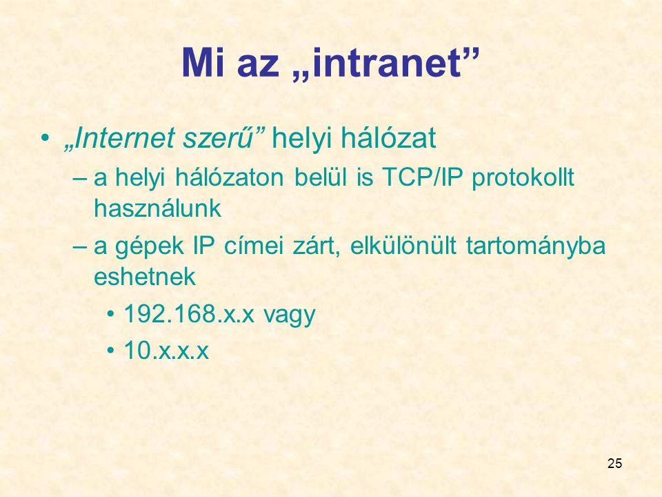 """Mi az """"intranet """"Internet szerű helyi hálózat"""