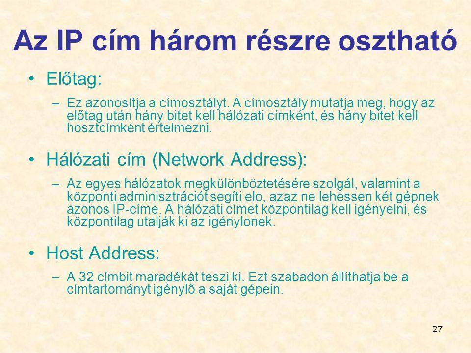 Az IP cím három részre osztható