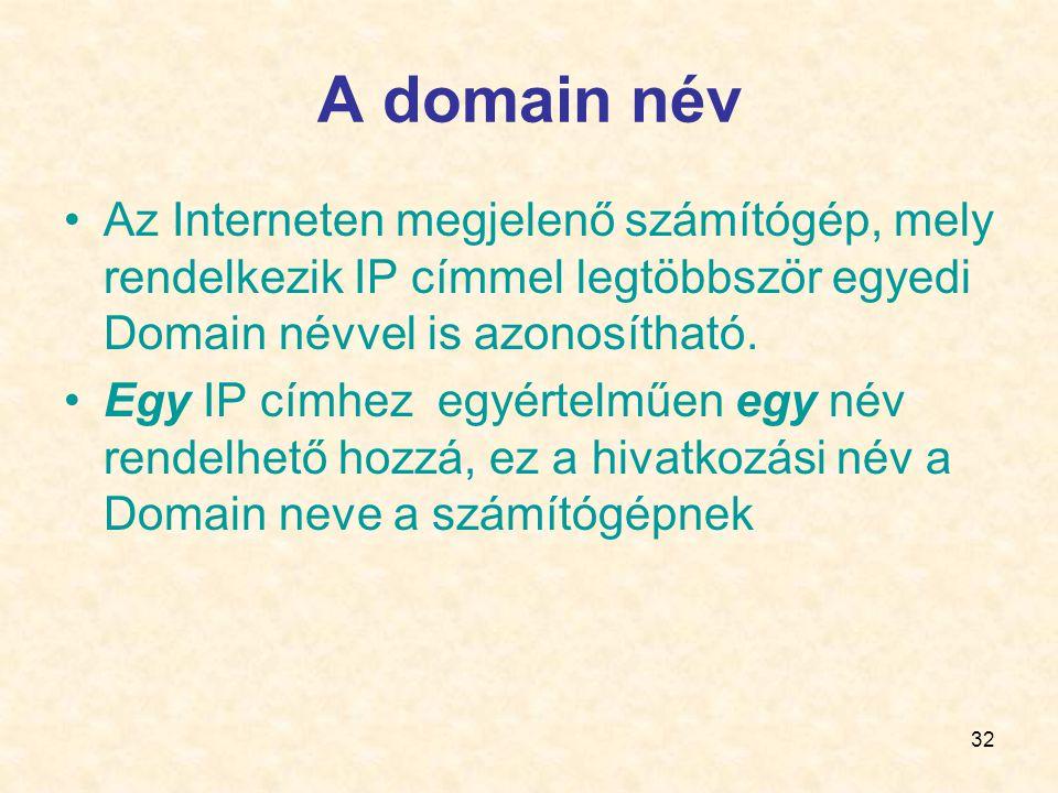 A domain név Az Interneten megjelenő számítógép, mely rendelkezik IP címmel legtöbbször egyedi Domain névvel is azonosítható.