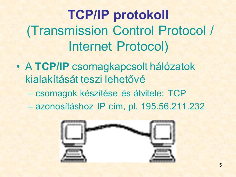 TCP/IP protokoll (Transmission Control Protocol / Internet Protocol)