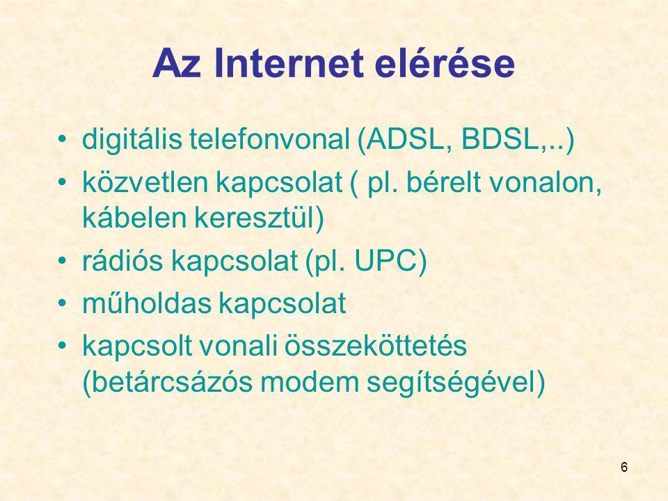 Az Internet elérése digitális telefonvonal (ADSL, BDSL,..)