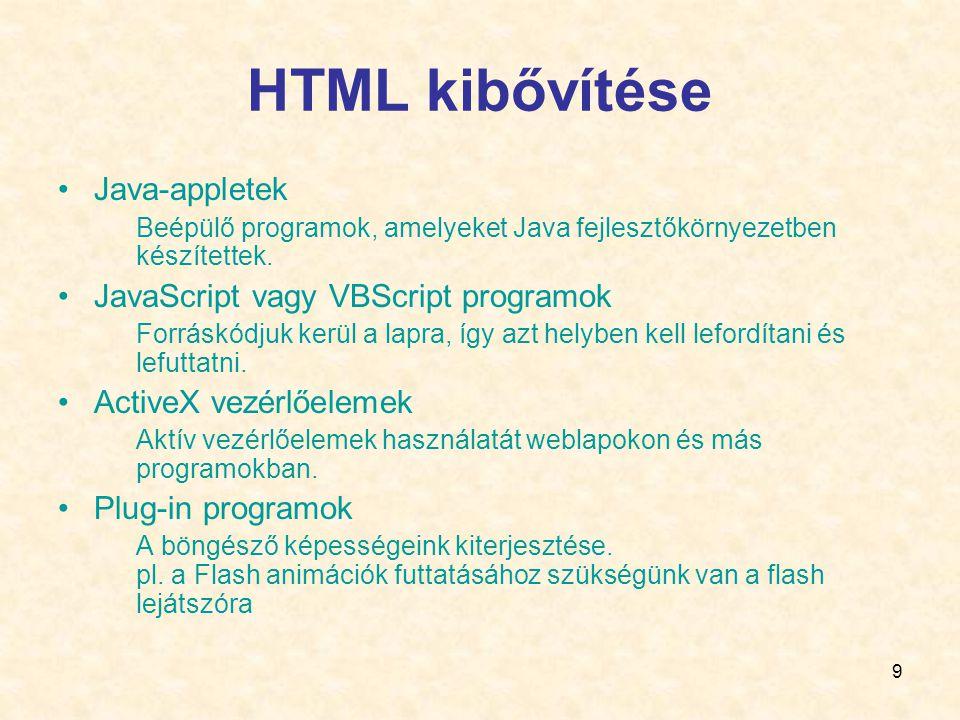 HTML kibővítése Java-appletek JavaScript vagy VBScript programok
