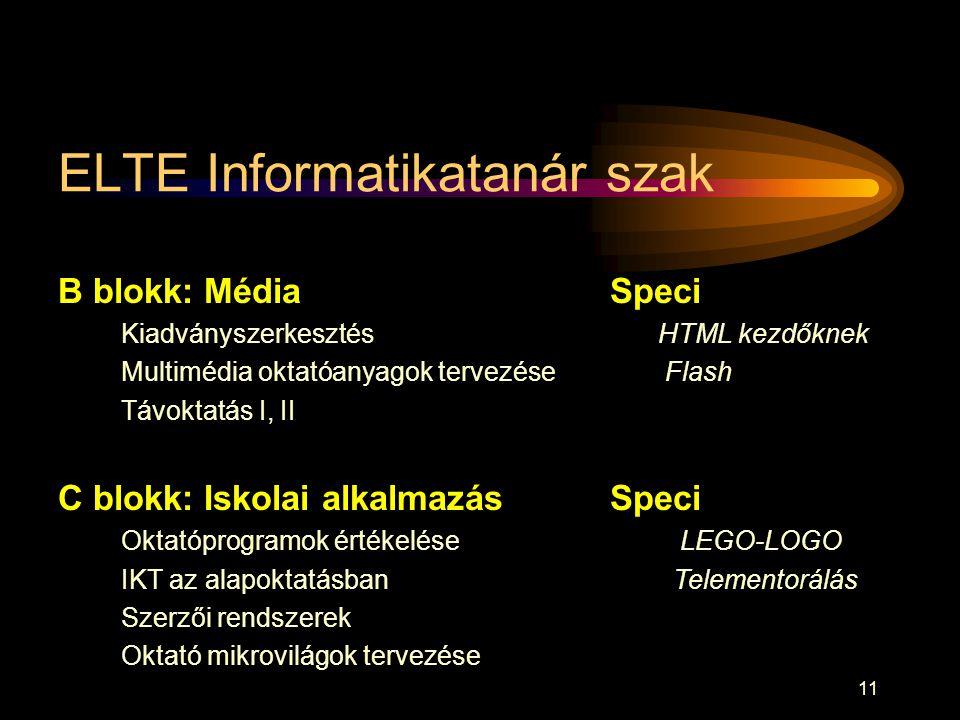 ELTE Informatikatanár szak