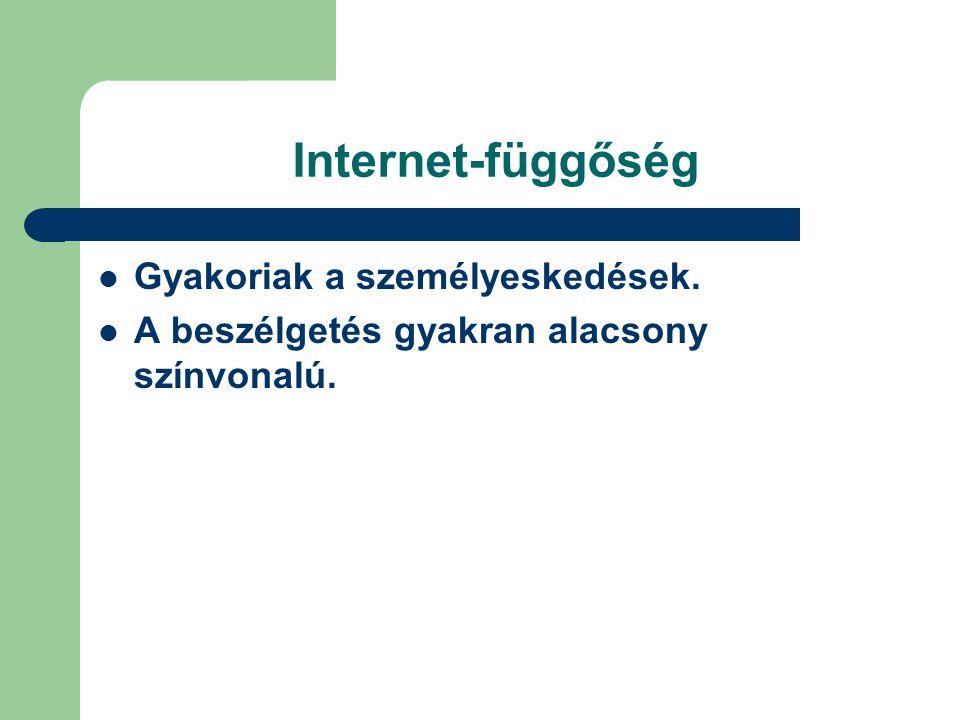 Internet-függőség Gyakoriak a személyeskedések.
