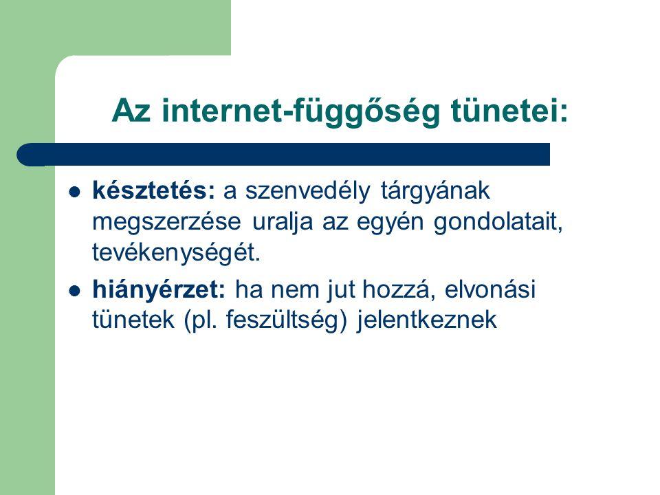 Az internet-függőség tünetei: