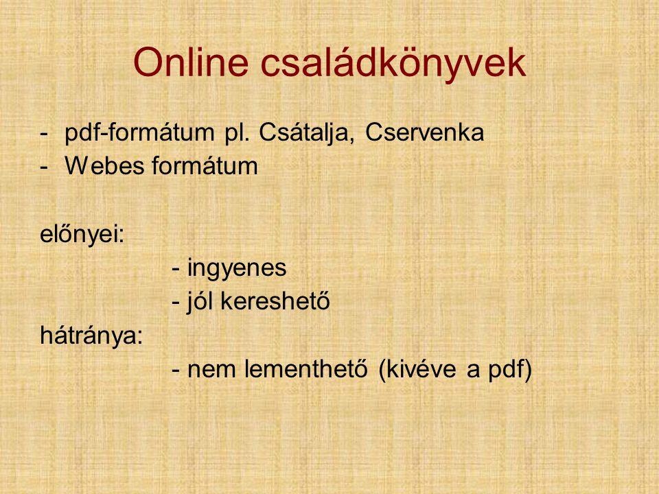 Online családkönyvek pdf-formátum pl. Csátalja, Cservenka