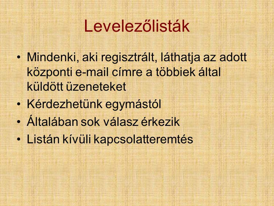 Levelezőlisták Mindenki, aki regisztrált, láthatja az adott központi e-mail címre a többiek által küldött üzeneteket.