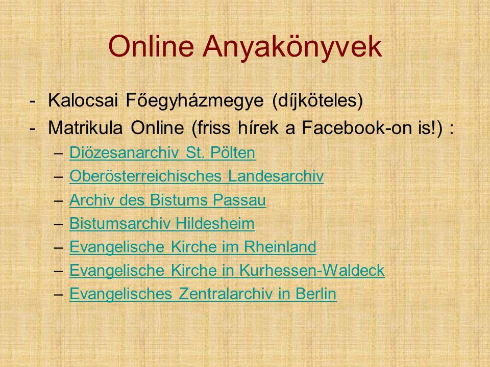 Online Anyakönyvek Kalocsai Főegyházmegye (díjköteles)
