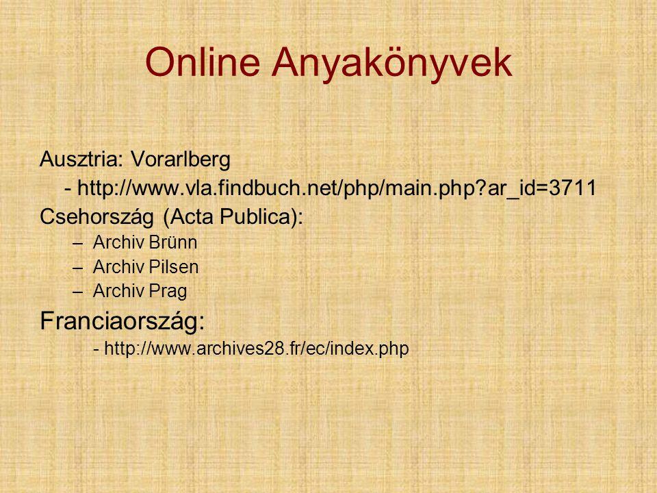 Online Anyakönyvek Franciaország: Ausztria: Vorarlberg