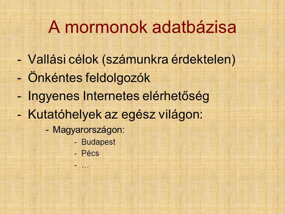 A mormonok adatbázisa Vallási célok (számunkra érdektelen)