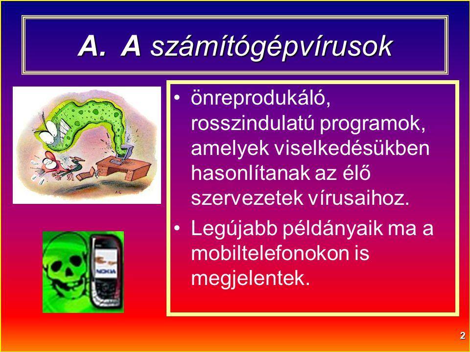 A számítógépvírusok önreprodukáló, rosszindulatú programok, amelyek viselkedésükben hasonlítanak az élő szervezetek vírusaihoz.