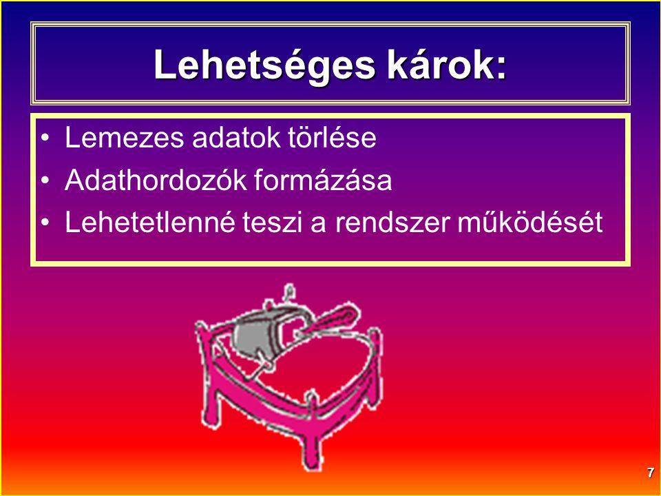 Lehetséges károk: Lemezes adatok törlése Adathordozók formázása