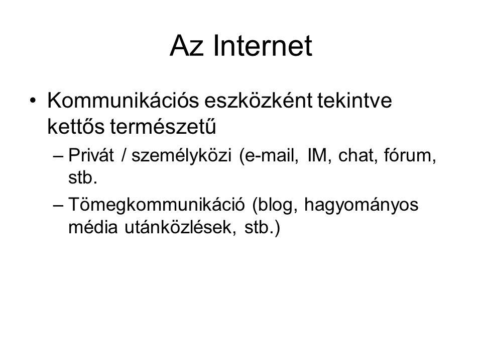Az Internet Kommunikációs eszközként tekintve kettős természetű