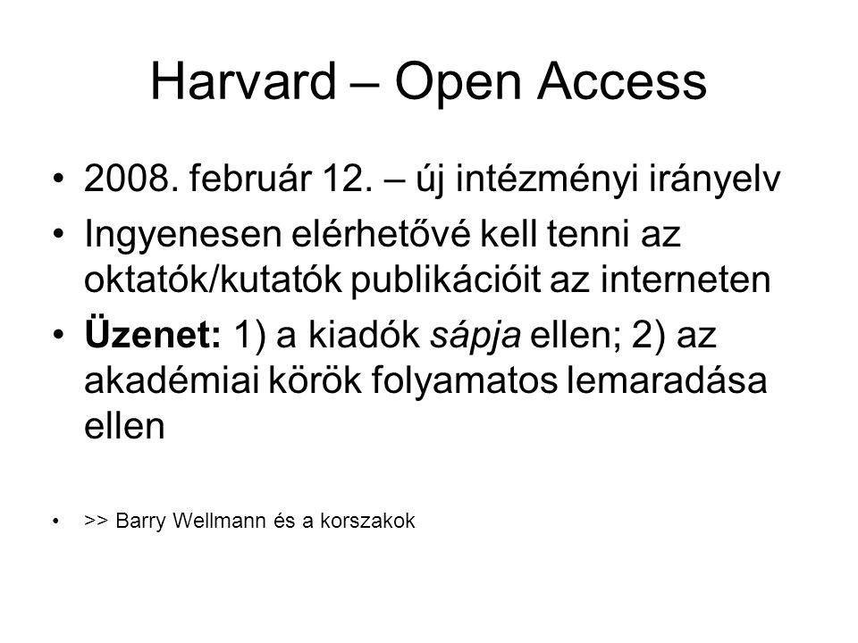 Harvard – Open Access 2008. február 12. – új intézményi irányelv