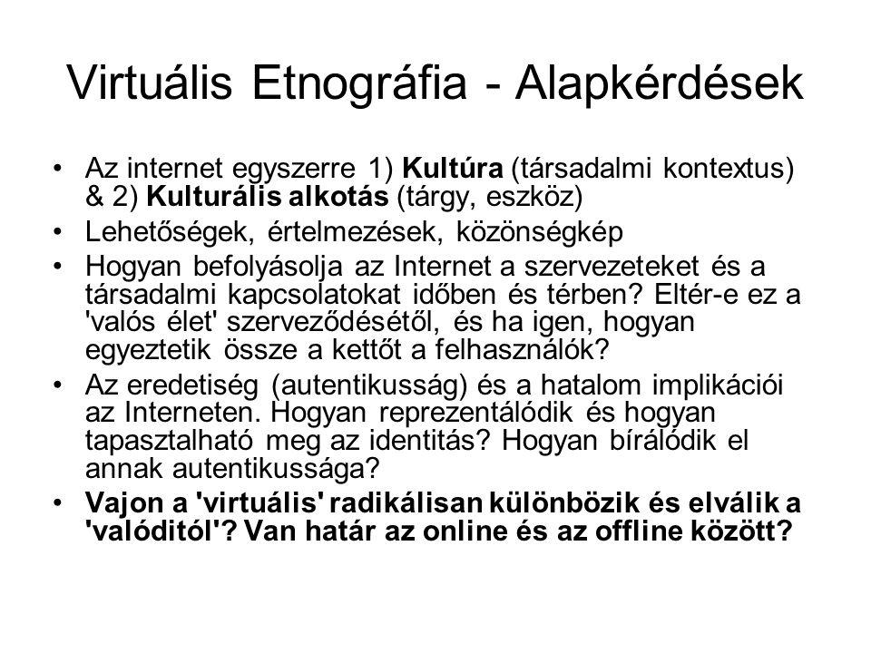 Virtuális Etnográfia - Alapkérdések