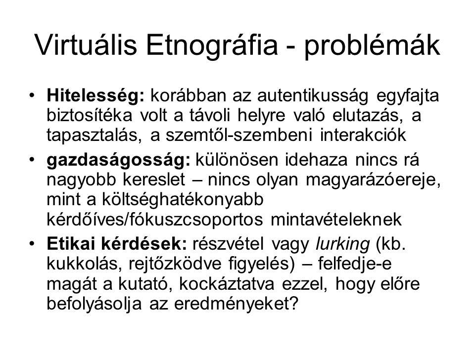 Virtuális Etnográfia - problémák