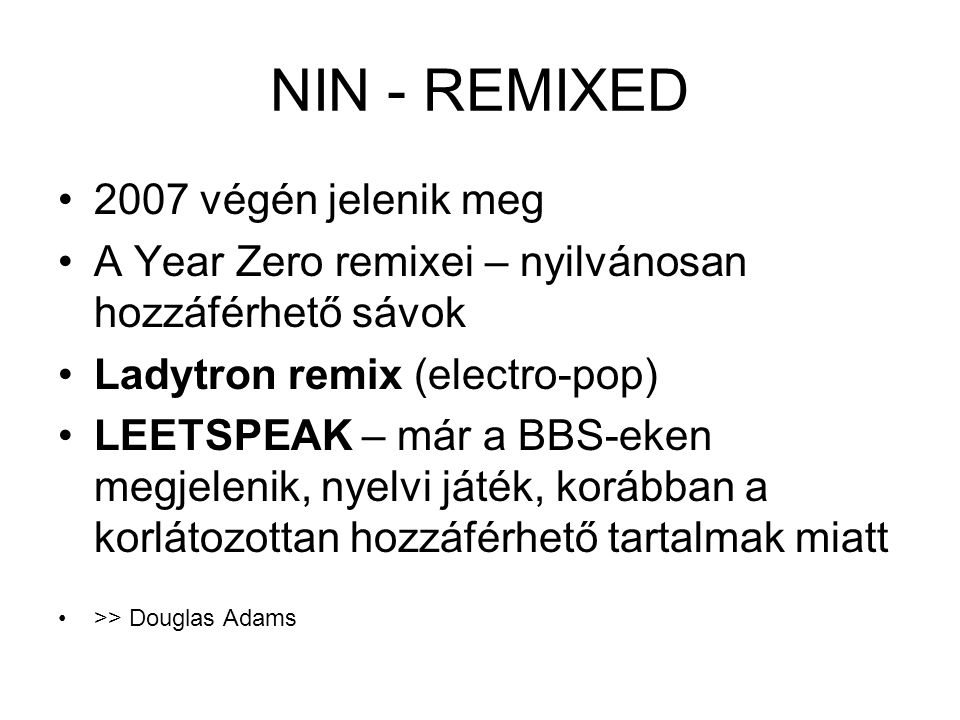 NIN - REMIXED 2007 végén jelenik meg