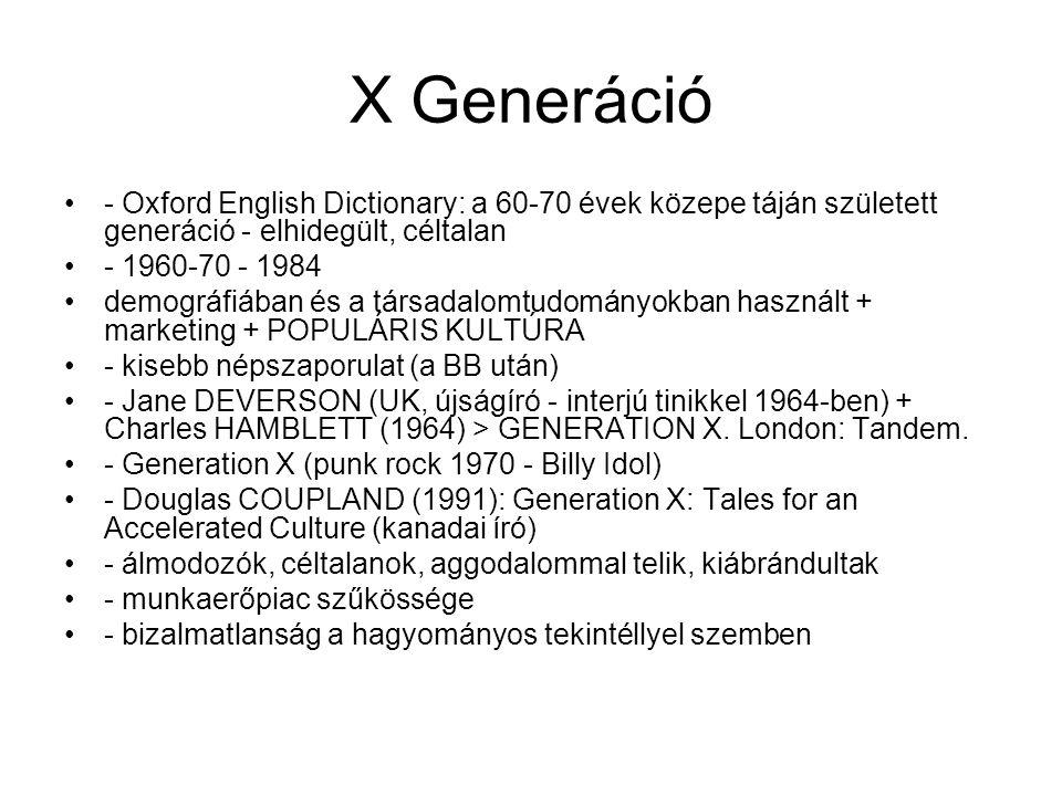 X Generáció - Oxford English Dictionary: a 60-70 évek közepe táján született generáció - elhidegült, céltalan.