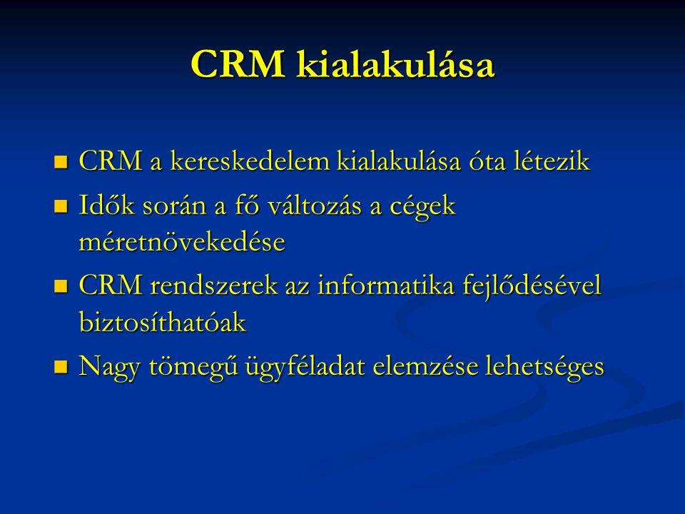 CRM kialakulása CRM a kereskedelem kialakulása óta létezik