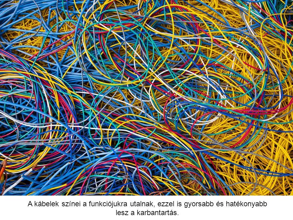 A kábelek színei a funkciójukra utalnak, ezzel is gyorsabb és hatékonyabb lesz a karbantartás.