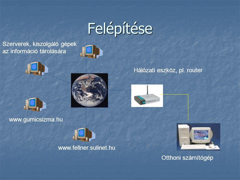 Felépítése Szerverek, kiszolgáló gépek az információ tárolására