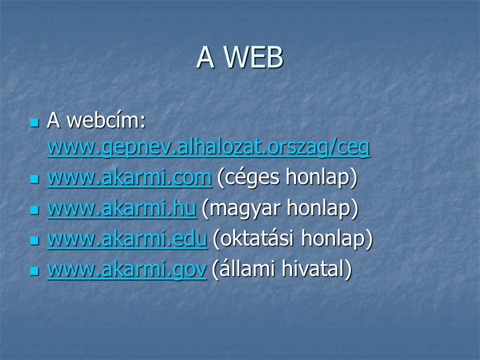 A WEB A webcím: www.gepnev.alhalozat.orszag/ceg