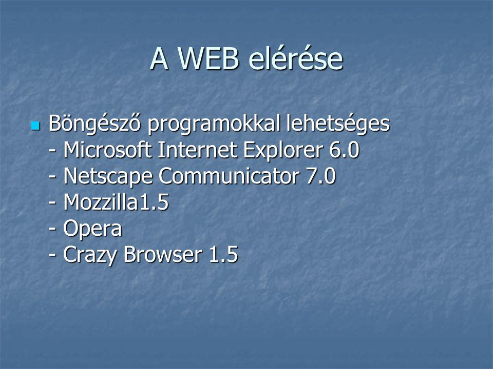 A WEB elérése