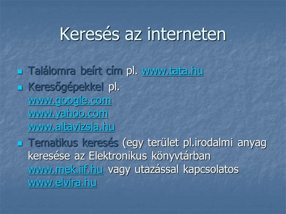 Keresés az interneten Találomra beírt cím pl. www.tata.hu