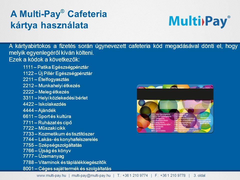 A Multi-Pay® Cafeteria kártya használata