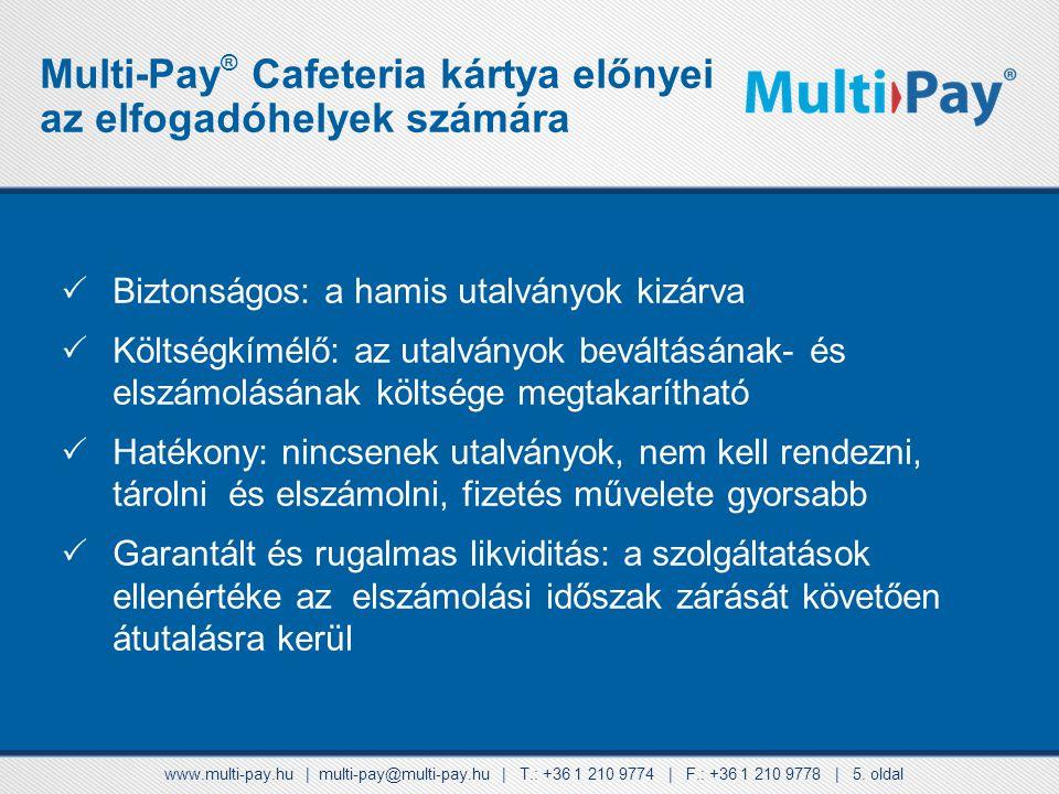 Multi-Pay® Cafeteria kártya előnyei az elfogadóhelyek számára