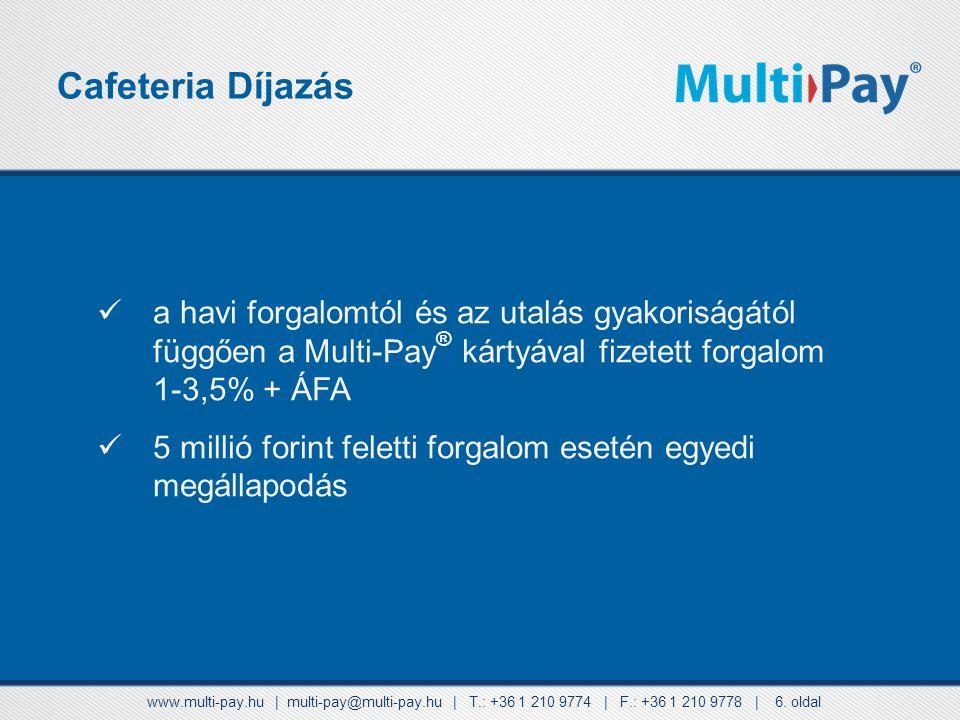 Cafeteria Díjazás a havi forgalomtól és az utalás gyakoriságától függően a Multi-Pay® kártyával fizetett forgalom 1-3,5% + ÁFA.