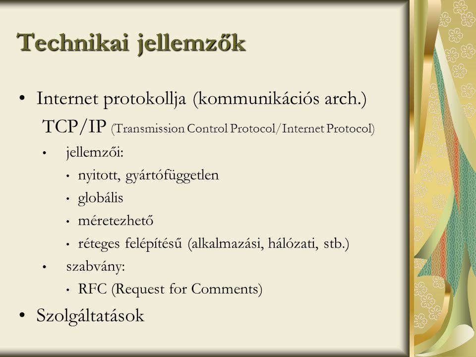Technikai jellemzők Internet protokollja (kommunikációs arch.)