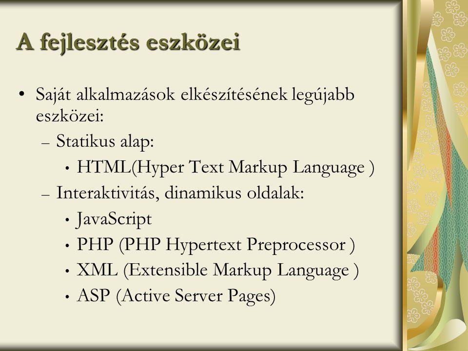 A fejlesztés eszközei Saját alkalmazások elkészítésének legújabb eszközei: Statikus alap: HTML(Hyper Text Markup Language )