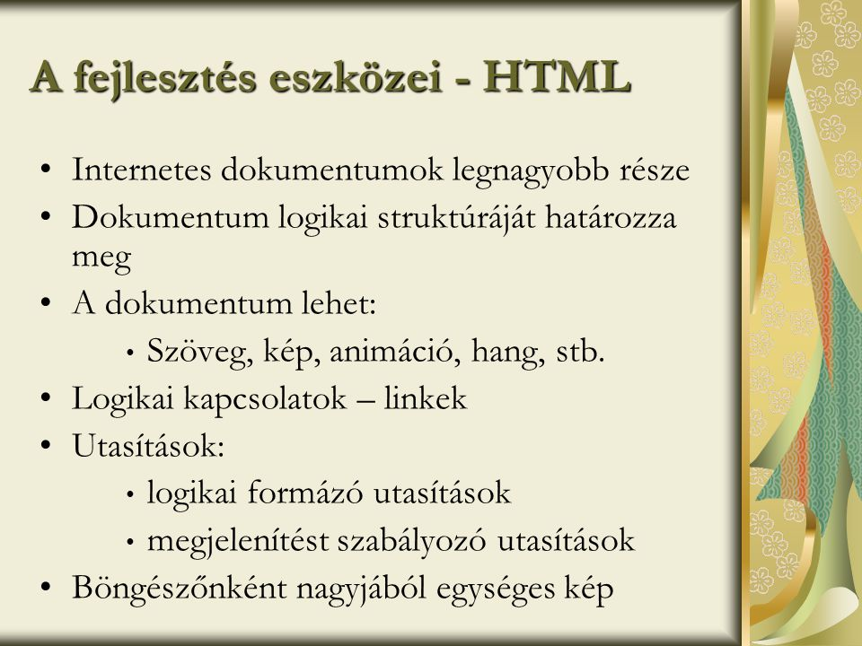 A fejlesztés eszközei - HTML