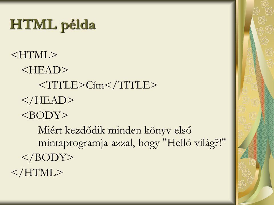 HTML példa <HTML> <HEAD> <TITLE>Cím</TITLE>